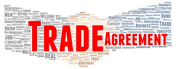Trade agreement word cloud shape