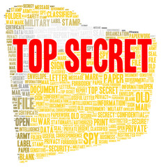 Top secret word cloud shape