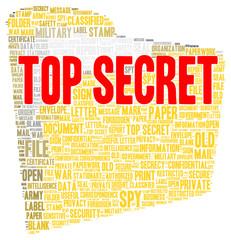 Top secret word cloud shape