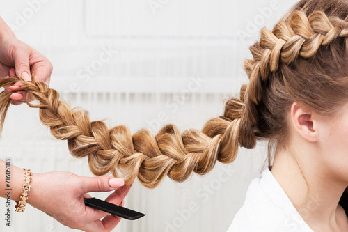 canvas print picture braid girl