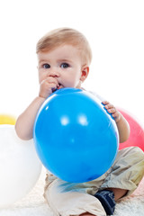 Baby boy with balloon
