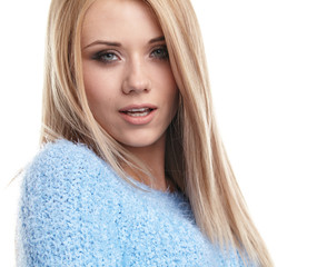 Pretty blonde girl half length portrait isolated on white