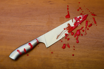 Kitchen knife in blood on the table