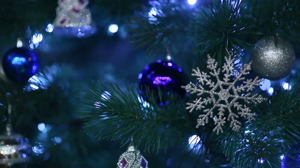 Snowflake on a New Year tree