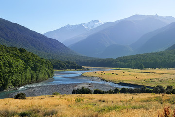 rural landscape with river in New Zealand