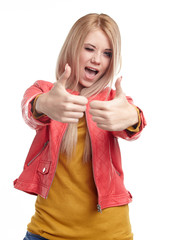 Smiling woman with thumbs up
