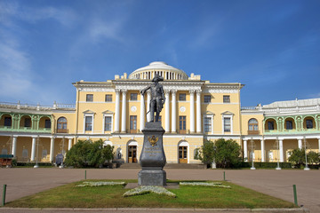 Monument to Paul I and Pavlovsk Palace, Pavlovsk, St Petersburg