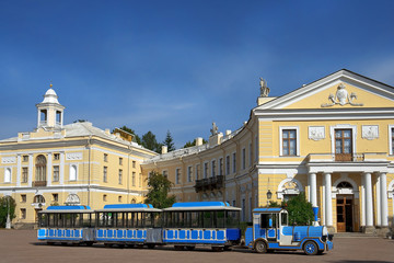 excursion train on square at Pavlovsk Palace, St. Petersburg
