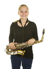 Cute Girl Holding her Saxophone