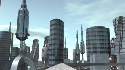 Ride through futuristic city seamless loop