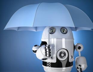 Robot with umbrella. Security concept. Contains clipping path