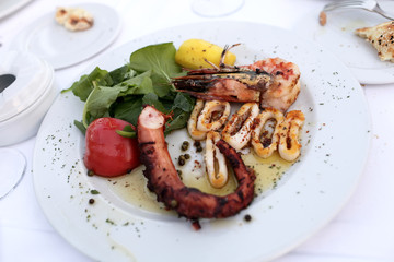 Plate with grilled seafood