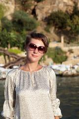 Woman at Antalya harbor
