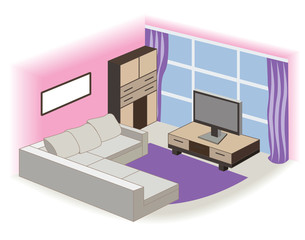 modern living room interior (vector illustration)