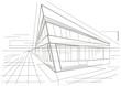 architectural sketch of modern corner building - 71607309