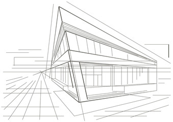 architectural sketch of modern corner building