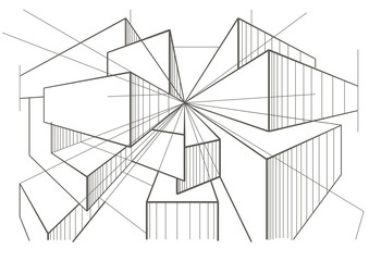 abstract architectural sketch of boxes in perspective