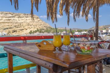 Sea salad and orange juic