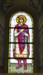 stained glass window with the image of the sacred
