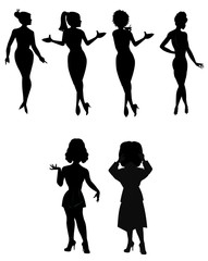 females outlines in black