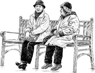 elderly women on the park bench