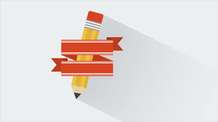 Pencil with blank ribbon, Animation Design, HD 1080