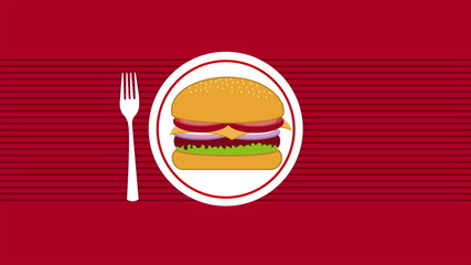 burger on dish, Animation Design, HD 1080