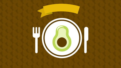 Avocado on dish, Animation Design, HD 1080