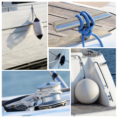 Collage of modern sailing boat stuff - winches,boat fenders,rope