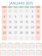 Calendar 2015 12 months vector design template
