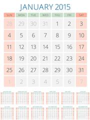 Calendar 2015 12 months vector design template