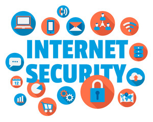 Internet security concept illustration with icons and text