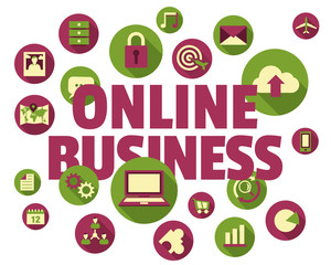 Internet business concept illustration with icons and text