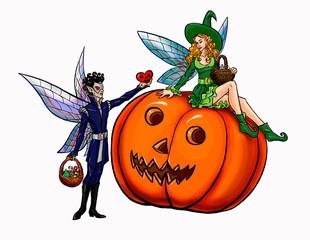 хэллоуин эльфы на тыкве пара он дарит ей подарок сердце