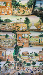 Thai mural painting of Thai people life in the past on temple wa