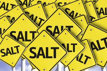 Salt written on multiple road sign