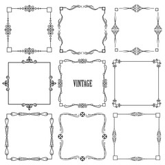 Vintage calligraphic square frame set isolated on white.