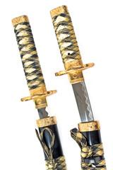 Japanese samurai katana swords over white