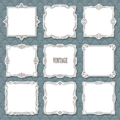 Vintage calligraphic square frame set on damask.