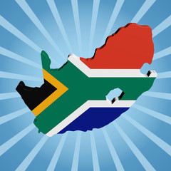 South Africa map flag on blue sunburst illustration