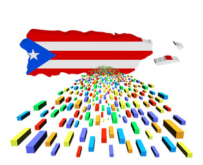 Puerto Rico map flag with containers illustration