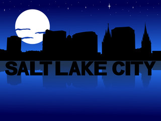 Salt Lake City skyline reflected with text and moon illustration