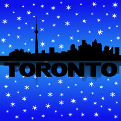Toronto skyline reflected with snow illustration