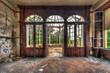 Leinwanddruck Bild - Abandoned room with view through beautiful broken conservatory