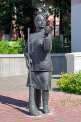 Monument of woman street sweeper in Gomel, Belarus