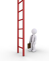 Businessman and a vertical ladder