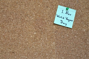 Note 'World Vegan Day'