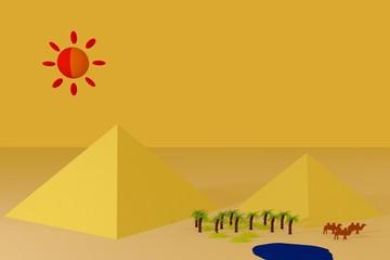 Zwei Pyramiden und Oase