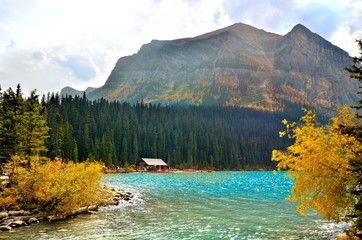 Lake Louise, Banff National Park, Canada with autumn colors