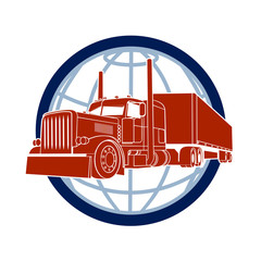 truck symbol road haulage on a background of a planet